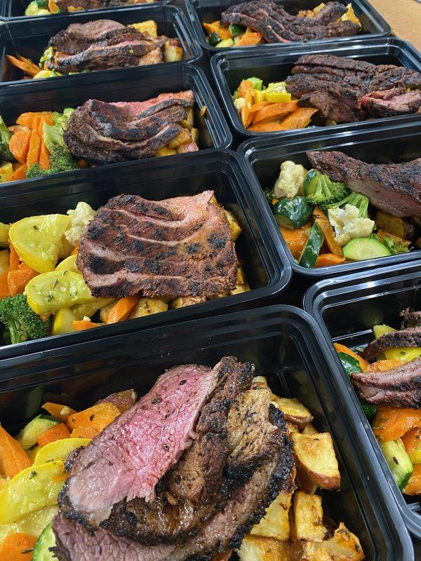 prepackaged flank stake box meal