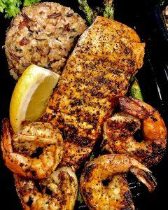 prepackaged grilled salmon & shrimp box meal